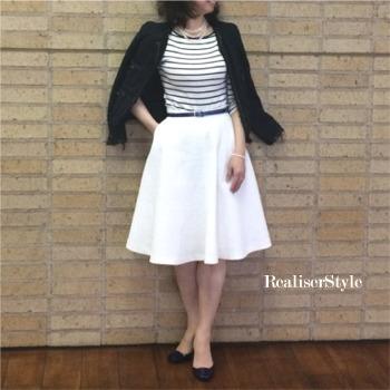 白フレアースカートのマリンコーデでオーダースーツの仮縫い同行