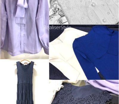 40代女性ビジネススーツに合わせるインナー事例。